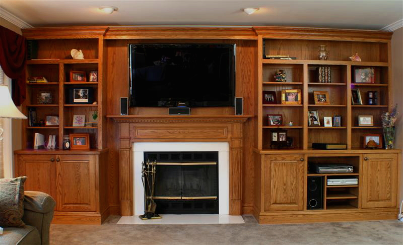 CUSTOM OAK TELEVISION AND GAS FIREPLACE WALL UNIT – Fireplaces
